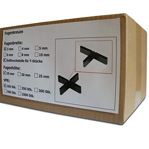 100 Stück SANPRO Flache Fugenkreuze Fugenbreite 3 mm/Höhe 10 mm